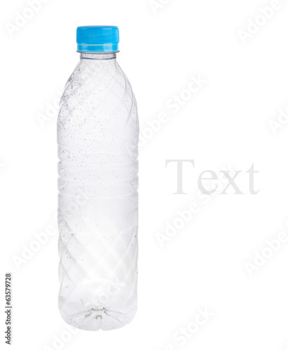 Empty plastic bottles isolated on white background.