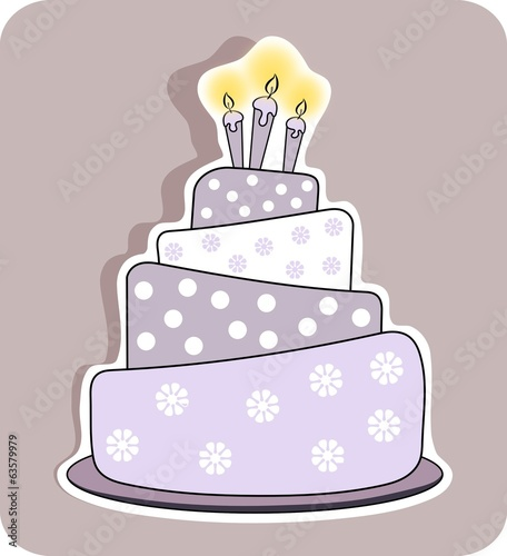 birthday cake with three lit candles - isolated