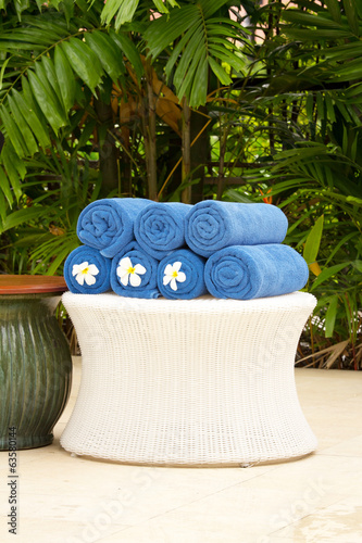 Blue cotton towels