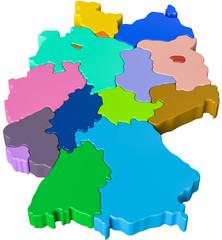 Bundesländer farbig in 3d