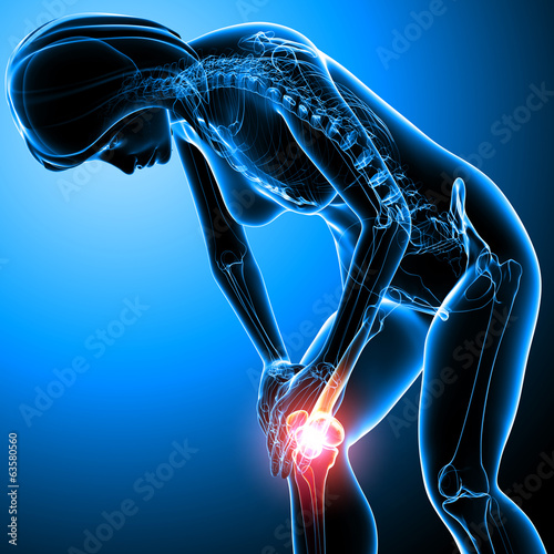 Female knee pain anatomy on blue