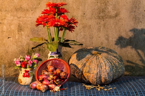 Still Life - pumpkin, dried chilli, shallots, and garlic, Pumpki