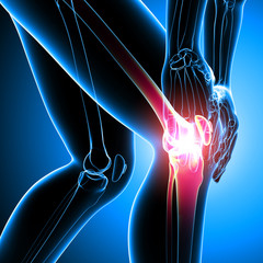 Human knee pain on blue