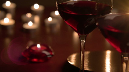 Wineglasses in candlelight