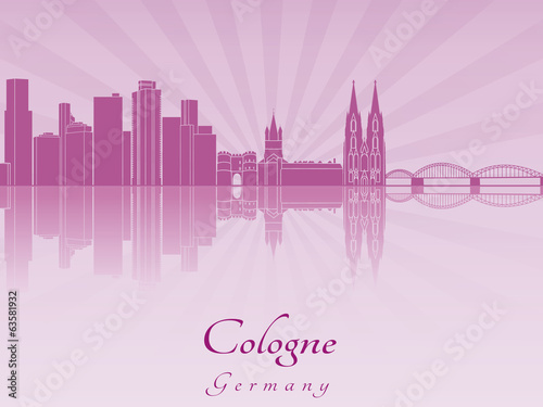 Cologne skyline in purple radiant orchid