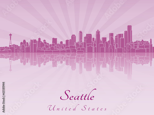Seattle skyline in purple radiant orchid