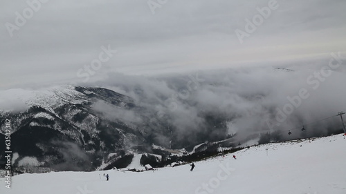 cloud smoke in Slovakia mountain Jasna