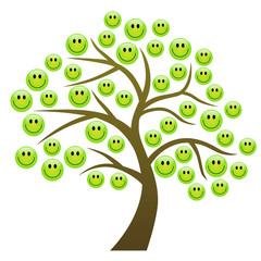 Baum mit grünen Smileys als Blätter – Vektor/freigestellt