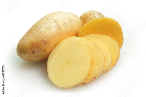 Raw potato isolated on white