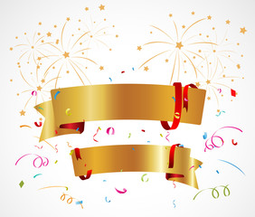 Celebration background with ribbon and confetti