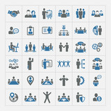 Human resources and management icons set poster
