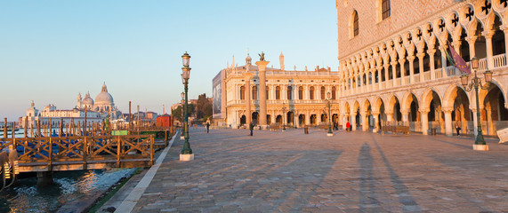 Venice - Doge palace and and waterfront in morning light.