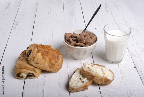 Breakfast on white background
