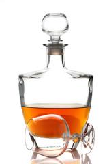 Cognac brandy bottle and glasses