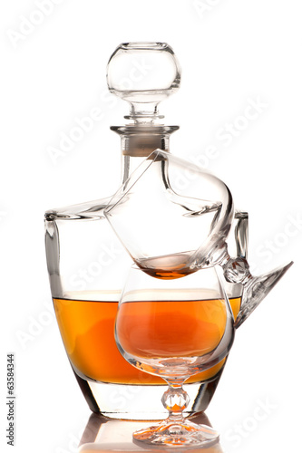 Cognac brandy bottle and glasses
