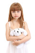 Portrait of beautiful cute girl with toy rabbit isolated