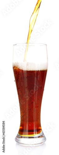 glass of kvass on white background