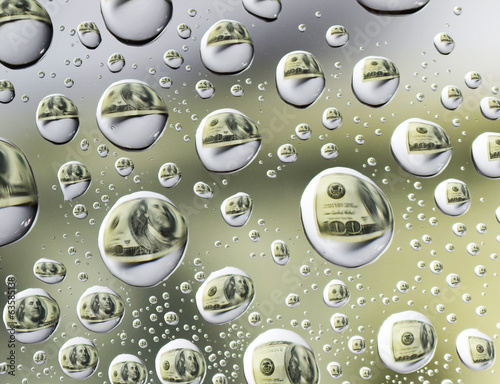 reflection of dollar symbol in Water Drops