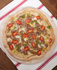 Leek and Meat Pizza