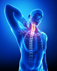 Anatomy of male neck pain blue
