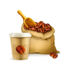 Coffee paper cup and bag, vector