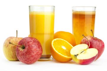 Orange and apple juice against