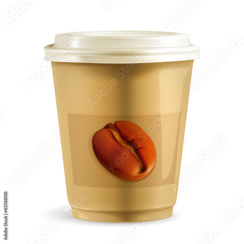 Coffee paper cup, vector