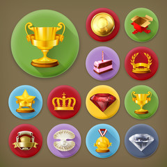 Awards and achievement, long shadow icon set