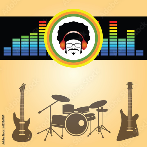 afro man listen music vector