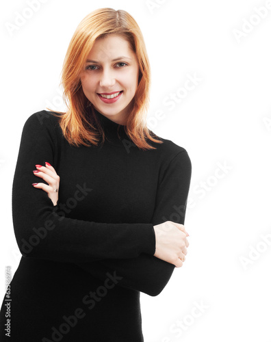 beautiful smiling girl on white background isolated