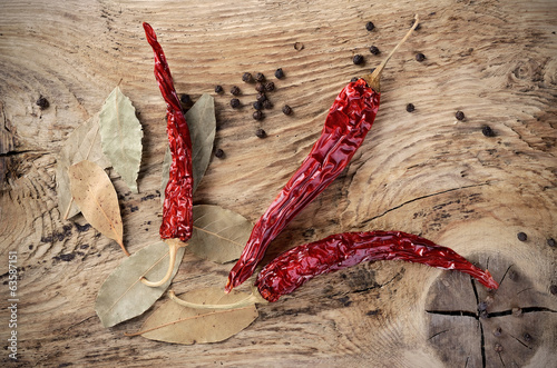 Chili pepper on wooden surface