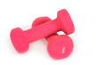 Розовые женские гантели. Белый фон