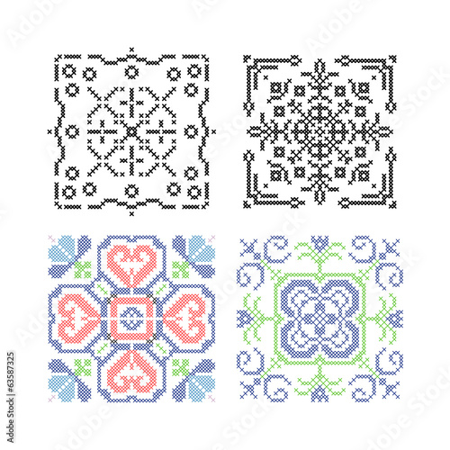 Needlework vector, tiles