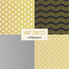 art deco wallpapers, vector set