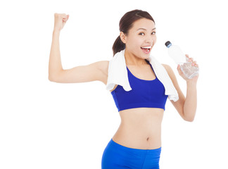asian woman drinking water and  muscular pose