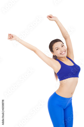 Beautiful woman make a waving arms pose
