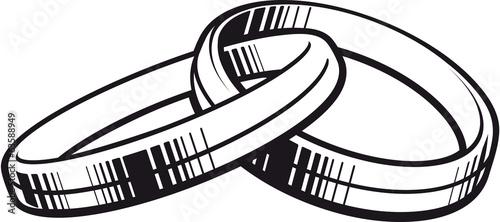 Grafik zwei Ringe schwarzweiss - 63588949