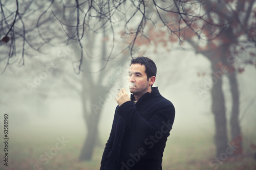 Man smoking cigarette