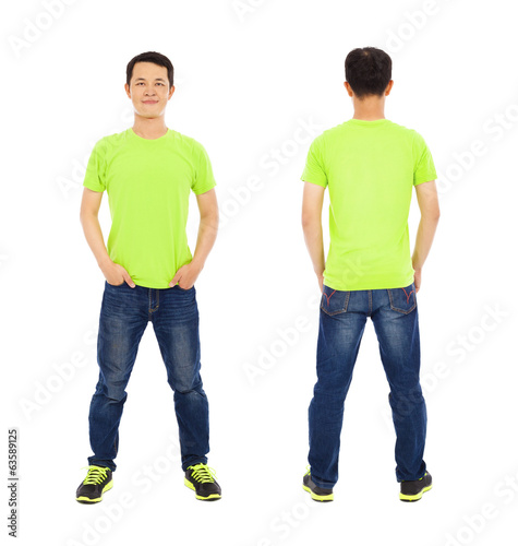 potrait of young man standing ,front and back