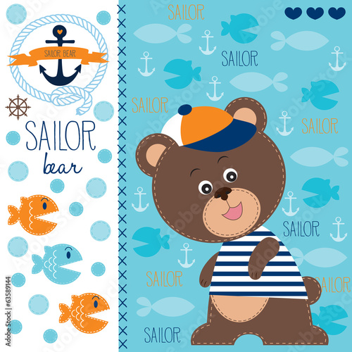 sailor bear and fish vector illustration