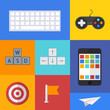 Vector flat modern icons set on sample backgrounds
