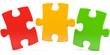 drei bunte Puzzleteile