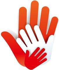 Symbol 3 Hände farbig