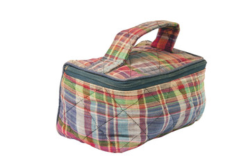 Small Carry Bag with Zip in Checked Fabric