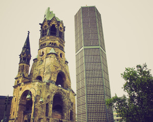 Retro look Bombed church, Berlin