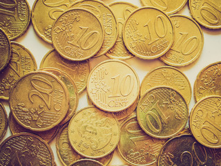 Retro look Euro coins