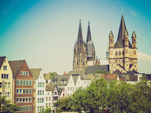 canvas print picture Retro look Koeln Dom
