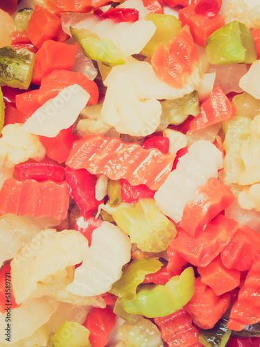 Retro look Mixed vegetables