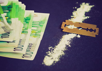 Retro look Cocaine drug