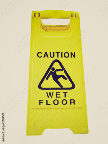 Retro look Caution wet floor